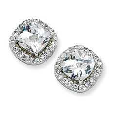 Cheryl M. Collection Sterling Silver Rose-cut CZ Square Post Earrings. $55