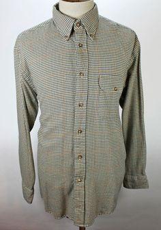 Orvis Shirt size Large Button Front Houndstooth Plaid Flap Pocket Mens Cotton #Orvis #ButtonFront