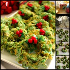 "~MY MOM'S CHRISTMAS CORN FLAKE WREATHS! :)   **Just use Corn Flakes in the regular ""Crispy"" recipe..add some Green Food Coloring & 1 tsp. of Almond Extract to the melty Marshmallows. With damp hands, form into wreaths and decorate with Red Hots! ~That's it! :)"
