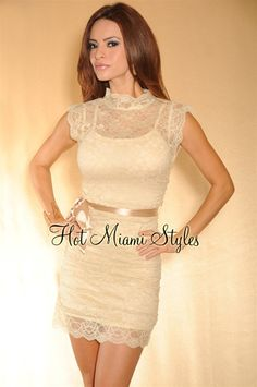 Cream Beige Lace Ruched High-Neck Belted Dress