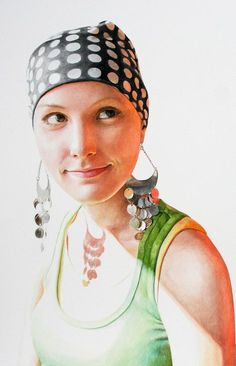 """In Your Warm Gaze, I Find That I'm Still Your Treasure"" - Ali Cavanaugh, watercolor, 2009 {figurative realism art beautiful female head bandana woman face portrait cropped painting #loveart} alicavanaugh.com"