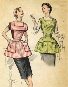 Vintage 50s Advance 8163 Misses Bibbed Vendor Apron by RomasMaison