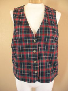 WillowBend Vest Navy Green Red Yellow Plaid Womens Sz M Made USA #WillowBend