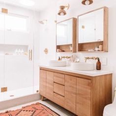 Why Designers Hate Most Medicine Cabinets (+ Some Genius Alternative Bathroom Storage Solutions) If your vanity is deep, you can use a surface-mount medicine cabinet without clocking yourself in it or not being able to clean behind the faucet. Bad Inspiration, Bathroom Inspiration, Bathroom Ideas, Earthy Bathroom, Ikea Bathroom, Gold Bathroom, Master Bathrooms, Bathroom Drawers, Bathroom Renos