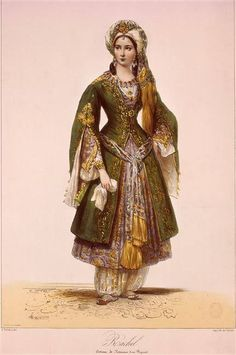 Roxane in Bajazet costume century). By Achille Deveria Paris, Musee Carnavalet. This is just pretty to look at. Historical Costume, Historical Clothing, Women's Clothing, Portrait Photos, Ethno Style, Turkish Fashion, Tribal Fusion, Ottoman Empire, Folk Costume
