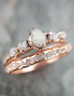 Raw Diamond Rose gold Engagement Ring Rough Gold