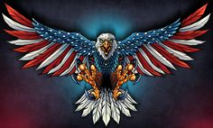 United States Bald Eagle with Flag Wings, Patriotic Art on metal sign, vintage style garage art wall decor by HomeDecorGarageArt on Etsy Patriotische Tattoos, Eagle Tattoos, Eagle Chest Tattoo, Navy Tattoos, Wing Tattoos, Celtic Tattoos, Sleeve Tattoos, American Flag Decal, American Flag Eagle