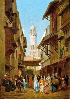 Medival Cairo - wedding procession - painting -COPY