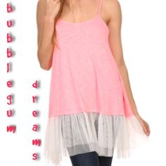 SPAGHETTI STRAP TUNIC WITH TULLE ACCENT Cute as can be tunic length cami with pleated tulle hem! Spaghetti straps, round neck. In Pink. Cotton/poly/spandex blend. S-XXXL Measurements upon request.  PLEASE DO NOT BUY THIS LISTING, I will personalize one for you. tla2 Tops Camisoles