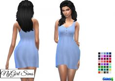 Buttoned Babydoll Dress at NyGirl Sims • Sims 4 Updates