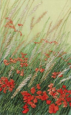 Machine embroidered picture called Poppies and Grasses by Alison Holt BA Textile Artist Machine Embroidery Quilts, Freehand Machine Embroidery, Free Motion Embroidery, Embroidery Art, Thread Painting, Thread Art, Silk Painting, Landscape Art Quilts, Ribbon Art