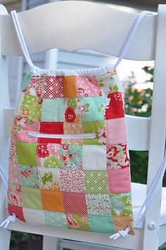 Quilted Knapsack by Pleasant Home. Fun and easy! Made with 1 Moda Candy charm pack!