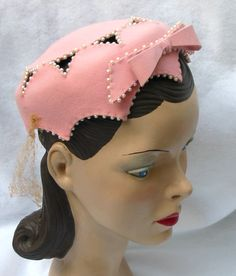 Vintage Pink Pill Box Hat with Cutouts Vintage Pink, Turbans, Vintage Accessories, Hair Accessories, Race Day Hats, Vintage Fashion 1950s, Pillbox Hat, Love Hat, Cool Hats