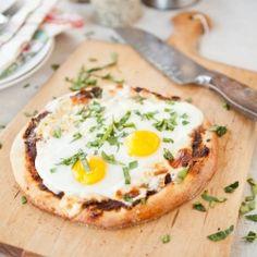 Sun Dried Tomato and Walnut Pesto Pizza (for breakfast!)