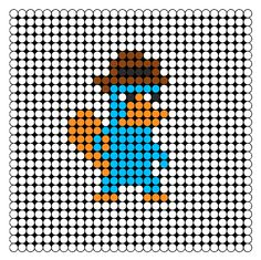 Perry The Platypus Perler Bead Pattern | Bead Sprites | Characters Fuse Bead Patterns