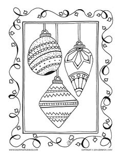 Christmas ornament with Christmas lights coloring page for adults and grown ups. Hand drawn by Jennifer Stay and available with many other holiday printable coloring pages at Coloring Pages Bliss                                                                                                                                                                                 Mais