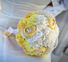 Fabric wedding bouquet #wedding #flowers