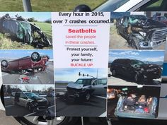 These crashes look pretty bad, right?  All of those involved survived because they wore seat belts.