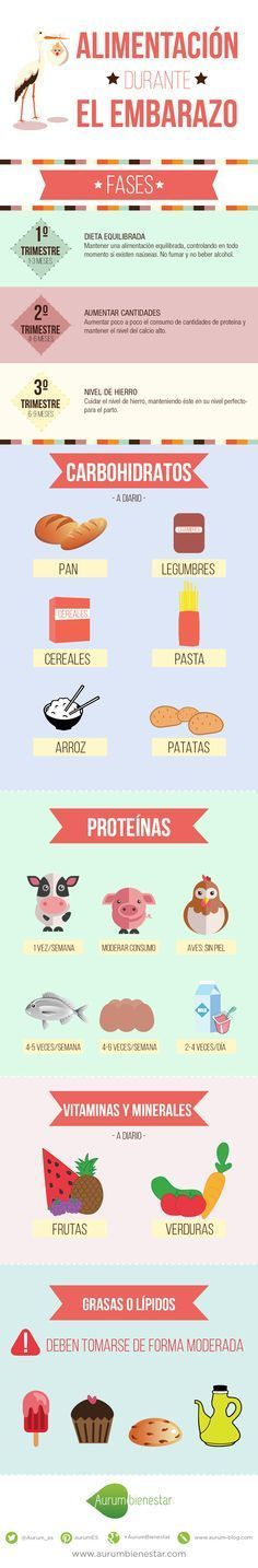 En Aurum Bienestar hemos hecho una infografía con la información relativa a la alimentación durante el embarazo. Descubre todo lo que debes hacer.