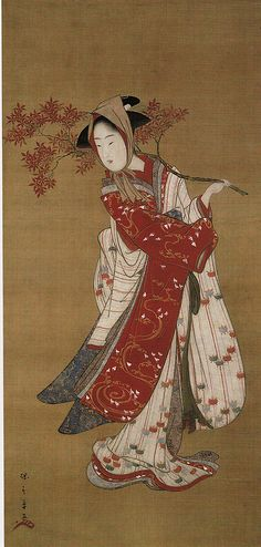 """Kakemono - ""Dancer with a Maple Branch"" de "" Katsukawa Shunshō 勝川春章 ? Geisha Kunst, Geisha Art, Japanese Drawings, Japanese Prints, Art Occidental, Japan Painting, Art Japonais, Japan Art, Chinese Art"