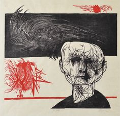 The Tormented One/Tormented Man 1953. Woodcut in two colors on thin beige Japan paper by  Leonard Baskin