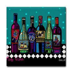 Pug Wine Art Tile Ceramic Coaster Dog Print by by HeatherGallerArt, $20.00