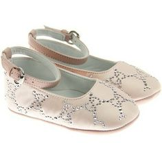 GUCCI Baby Girls Pink Ankle Ballerina Pre Walkers With GG Stud Pattern