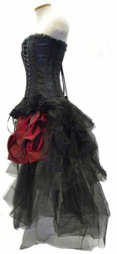 Three piece set consisting of the black satin and lace vampirella corset, the Desdemona burgundy taffeta bubble skirt, and the tulle bustle overskirt.