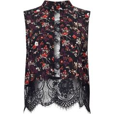 Miss Selfridge Floral Lace High Neck Top, Black/Multi (145 RON) ❤ liked on Polyvore featuring tops, lacy tops, miss selfridge, high neck top, floral sleeveless top and lace top