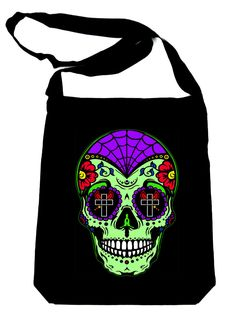 e72b369144f8 Mexican Sugar Skull on Black Sling Bag Day of the Dead Book Bag Mexican  Skulls,
