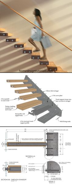 Learn how to design and build cantilevered stairs by understanding the principles and physics behind the construction. Manufacturing drawings available for purchase. #cantilevered #stairs #floating #staircase #fixing #detail Wooden Staircases, Wooden Stairs, Stairways, House Staircase, Staircase Design, Cantilevered Stairs Detail, Stairs Diagram, Steel Stairs Design, Glass Stairs