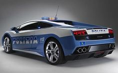 Custom made car for the Police - Gallardo, boasts a 560-horsepower engine - capable of 200mph! - remind me not to speed in Italy!