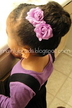 #naturalhair, protective flat twist and accessorized sock bun.