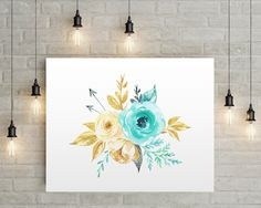 Flowers and Arrows, Floral Print, Aqua Gold Flowers, Bedroom Decor, Floral Wall Art, Bedroom Wall Art, Aqua Nursery Decor, Bathroom Decor by AdornMyWall on Etsy
