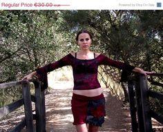 ON SALE Recycled fabric handmade top/shirt Gypsy top/shirt Hippie top/shirt Pixie top/shirt  Bohemian top shirt