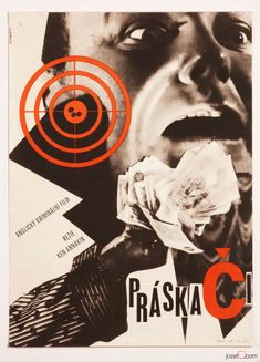 Movie Poster with mysterious design for British crime movie The Informers. Poster design by Čeněk Pražák, Czechoslovakia, 1964. #postersale #movieposter #graphicdesign