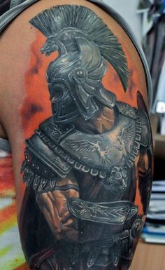 Super realistic gladiator warrior tattoo on shoulder for men