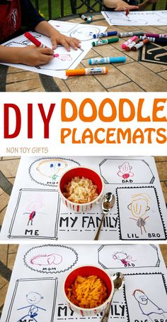 Turn mealtime into a playtime with these DIY doodle placemats. Make a few frames on paper and kids will have lots of fun drawing mom, dad, siblings and themselves.