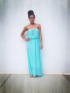 Pretty teal maxi dress!