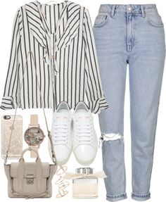 How To Wear Outfit with blue jeans and a stripped top Outfit Idea 2017 - Fashion Trends Ready To Wear For Plus Size, Curvy Women Over 50 Mode Outfits, Trendy Outfits, Fall Outfits, Summer Outfits, Fashion Outfits, Fashion Trends, Look Fashion, Korean Fashion, Looks Plus Size