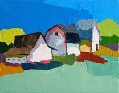 Close Knit IV-  Oil Painting 8x10 Original- Landscape Painting, Farmhouse Painting, Barn, Farm