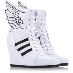 JEREMY SCOTT ADIDAS High-tops ($220) ❤ liked on Polyvore featuring shoes, sneakers, adidas, sapatos, adidas high tops, high top sneakers, high heel shoes, hi tops et adidas sneakers