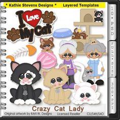 Crazy Cat Lady Layered Templates - CU