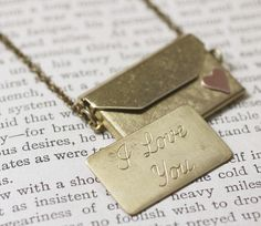 Envelope locket necklace I love you brass copper. I NEED this!