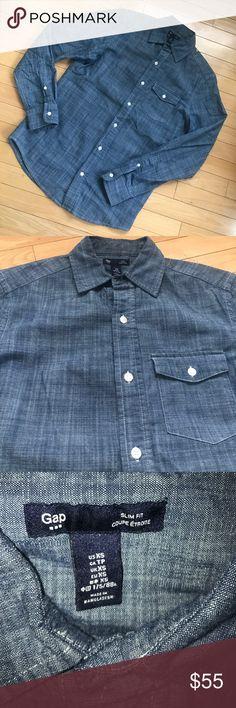 Denim GAP Button Down Slim Fit XS Men's Shirt! Denim GAP Blue Indigo Button Down Slim Fit SIZE: XTRA SMALL . Men's Shirt! 100% Cotton . Single shirt pocket . Like New condition . #Jeanshirt GAP Shirts Casual Button Down Shirts