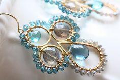 The Arizzano Chandelier Earrings Blue Flourite by AdelinaaMare, $140.00