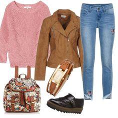 17b21d632d54 Maglione rosa e accessori marroni  outfit donna Basic per tutti i giorni
