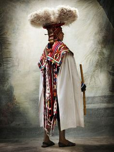 Peruvian Ceremonial Costume--textures and colors. Love the head piece!