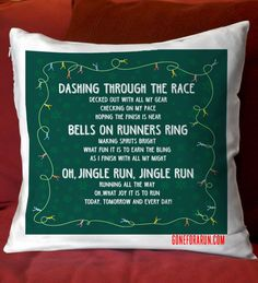 Add a Christmas running theme to any room with this fun jingle run pillow!
