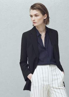 Crepe blazer - Jackets for Woman | MANGO Finland